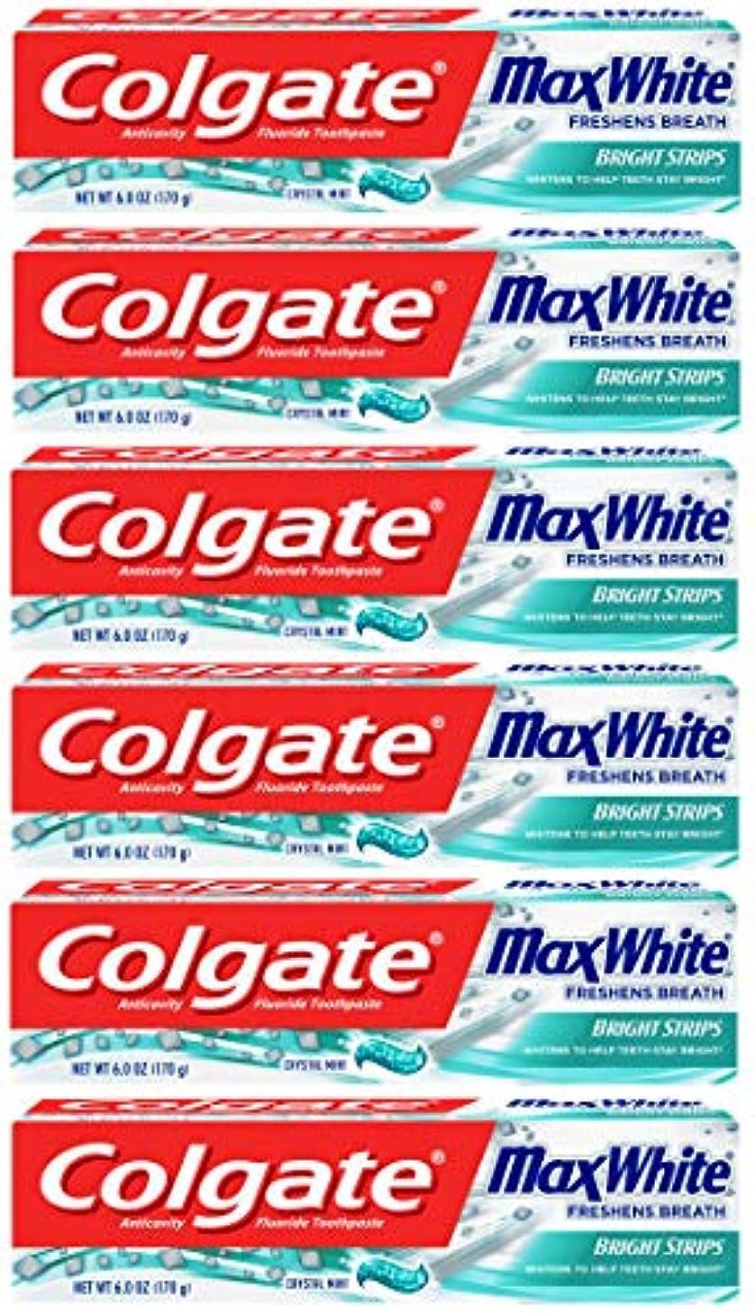 サロン呼ぶレディColgate 明るいストリップでマックスホワイトホワイトニングの歯磨き粉、ミント - 6オンス(6パック)
