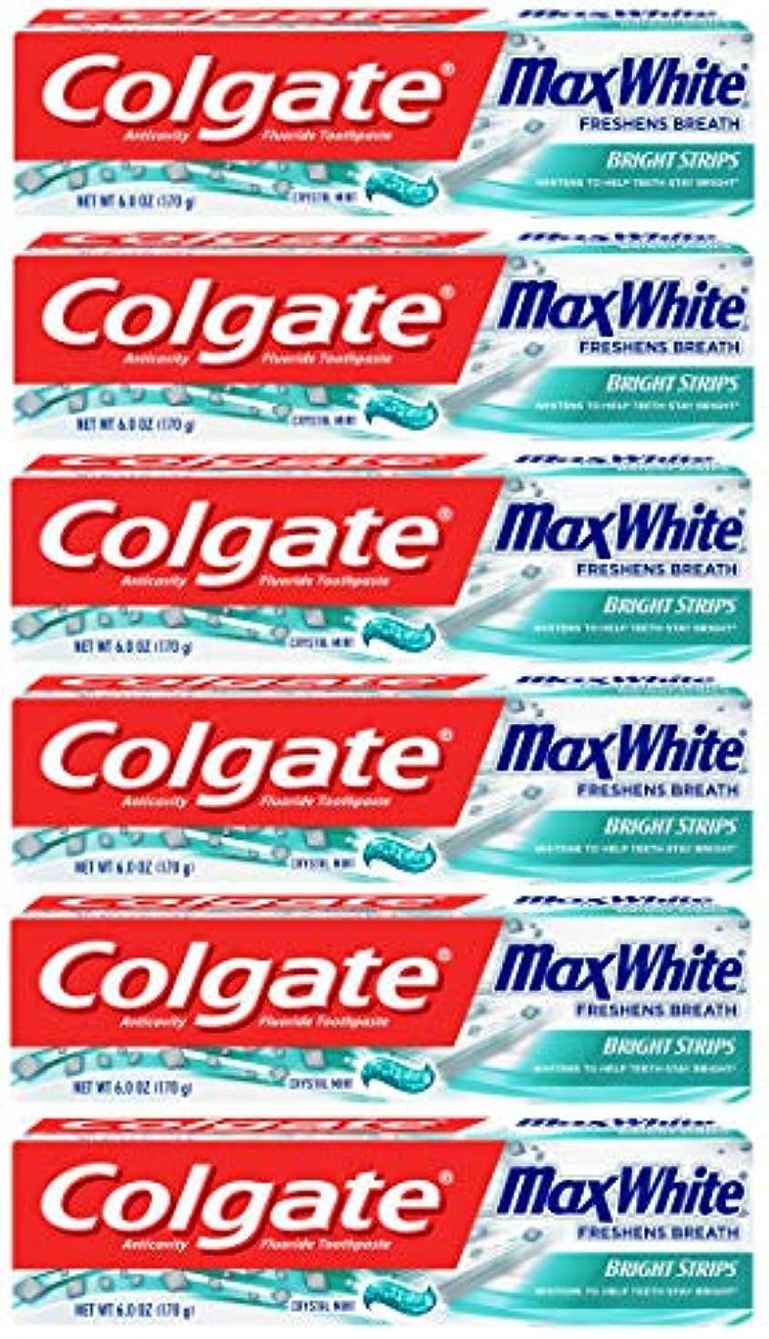 思い出させる精算泥棒Colgate 明るいストリップでマックスホワイトホワイトニングの歯磨き粉、ミント - 6オンス(6パック)