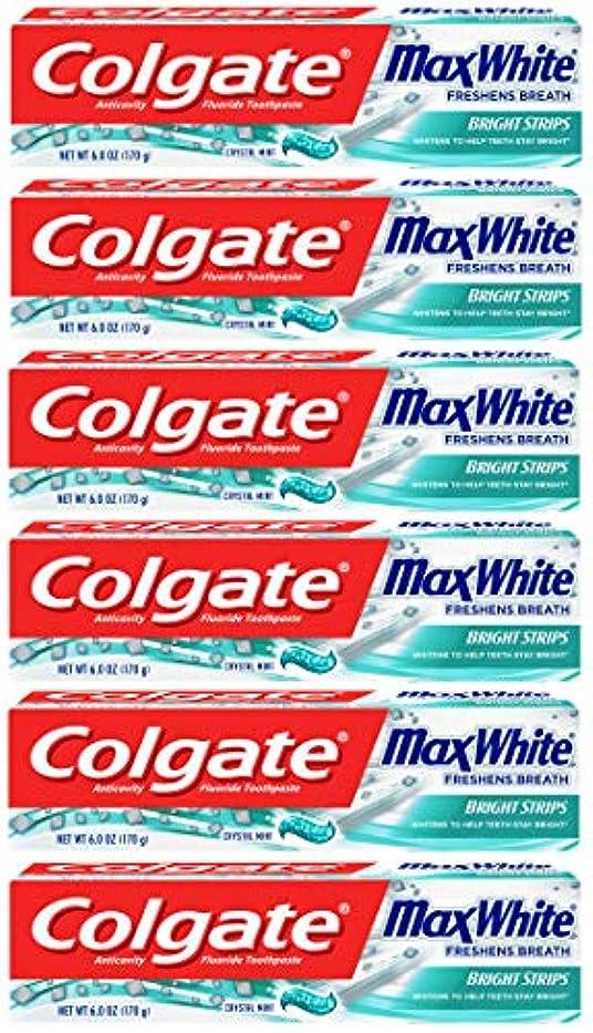 嘆くコミットメントおいしいColgate 明るいストリップでマックスホワイトホワイトニングの歯磨き粉、ミント - 6オンス(6パック)