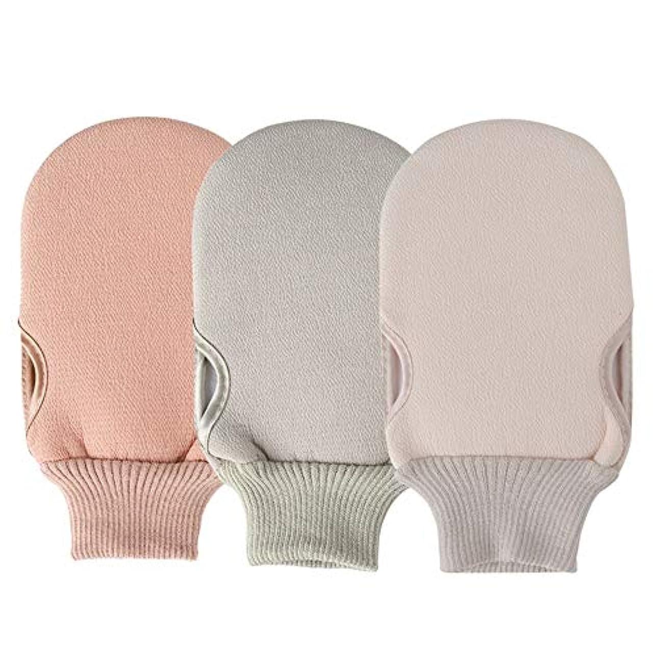 ドレスレンダリングシニスBTXXYJP お風呂用手袋 あかすり シャワー手袋 ボディブラシ やわらか ボディタオル バス用品 角質除去 (Color : Pink+green+beige)