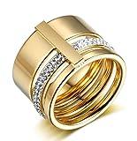 Y-YING サージカル ステンレス メンズ リング 指輪 結婚 指輪 かっこいい 男性用指輪 ジルコニア ゴールド 4mm ストリップボード