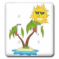 3drose LSP _ 118530_ 2Cartoon Island Sun and Palm Treesダブル切り替えスイッチ