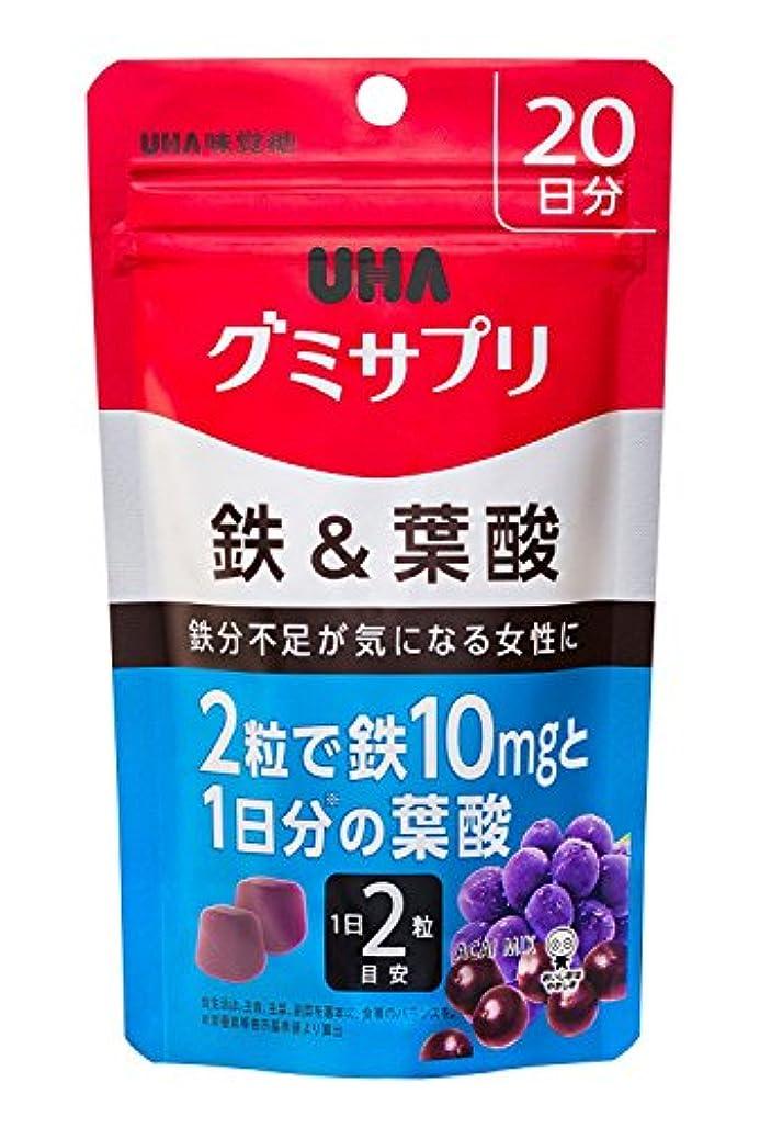 甘美な哀成長するUHAグミサプリ 鉄&葉酸 アサイーミックス味 スタンドパウチ 40粒 20日分