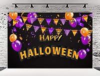 Kate 10x6.5フィート ハッピーハロウィン 写真撮影用背景幕 ブラック 写真撮影用 オレンジパープルフラッグバルーン 写真スタジオブースプロップ用 ポケット付き