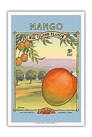 """マンゴー -""""アロハ""""種子 - ビッグアイランドシードカンパニー - ビッグアイランドフレーバー - ヴィンテージシードパケット によって作成された カーン・エリクソン - アートポスター - 31cm x 46cm"""