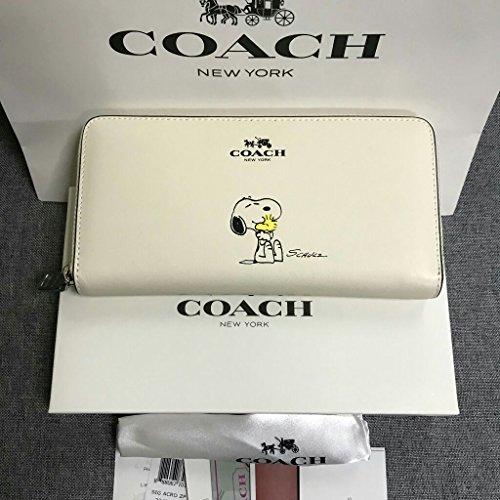 新品 COACH コーチ 長財布 F53773 スヌーピー SNOOPY ラウンドファスナー レディース ホワイト 白