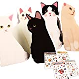 (moin moin) 愛らしい 猫 メッセージ グリーティング カード 5種 + 封筒 + シール セット 17052me1