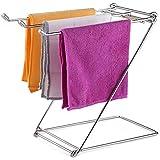 TKDMR Foldable 304 Stainless Steel Kitchen Rag Rack Drying Rack Dishcloth Hanger Desktop Waterlogging Rag Holder Silver (S)