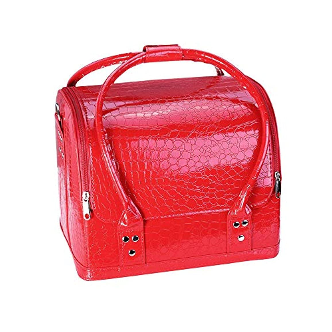 脳縫い目項目化粧オーガナイザーバッグ プロフェッショナルビューティーメイクアップケースネイル化粧箱ビニールケースオーガナイザークロコダイルパターン 化粧品ケース (色 : 赤)