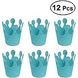12ピース誕生日パーティーハットキラキラ誕生日クラウンハットパーティー装飾Crowns Supplies for Kids大人(ティファニーブルー)