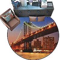 """ニューヨークプリントエリアラグ マンハッタンブリッジ シーン ナローアリアイランド ボロー グローバリー インフルエンシャルタウン NYC ホームデコ フォールカープ ブルー レッド 4'6""""/1.4m"""
