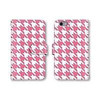 Apple iPhone 6 Plus iPhone 6 Plus ケース 手帳型ケース 【トレンド/千鳥格子/W】 (1-ピンク) アップル アイフォン 6 プラス docomo au SoftBank SIMフリー q0652-e0171-lec-1