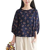 ASHERANGEL レディース花柄ブラウス プリント小花柄シャツ 綿麻 森ガール デザイン袖 半袖 バルーンスリーブ ネイビー M