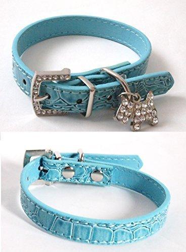 選べる サイズ 首輪 クロコダイル 風 ラインストーン で 犬 猫 に 犬の チャーム 付き (水色M)