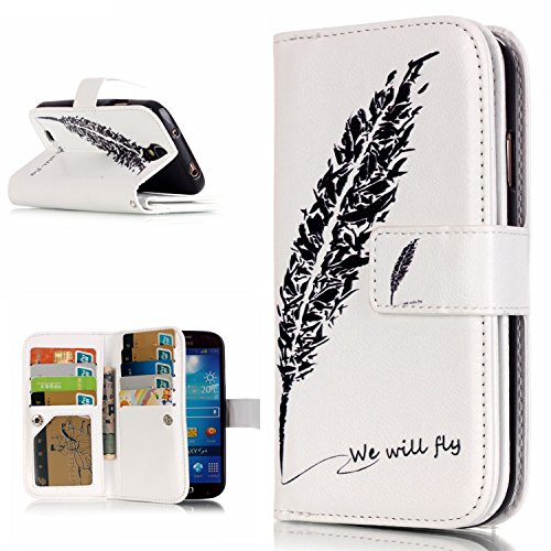OMATENTI Samsung Galaxy S4 用 PUレザー手帳型ケース [無期限生涯補償付き] 耐摩擦 耐汚れ 全面保護 フリップ 人気 横開き スマートフォン カバー (フェザー #1)