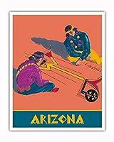 アリゾナ州 - ホピインディアンズの砂の絵 - サンタフェ鉄道 - ビンテージな鉄道旅行のポスター c.1940s - アートポスター - 41cm x 51cm