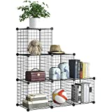 BRIAN & DANY 6-Cube Metal Wire Storage Cubes,DIY Wire Grid Bookcase, Multi-Use Modular Storage Shelving Rack, Black