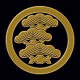 一般家紋蒔絵シール 48.丸に左三階松/GD
