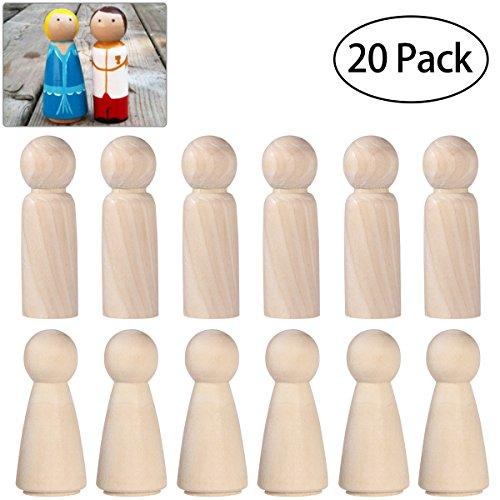 ULTNICE 木製ペグ人形未完成の木製人物平野ブランクボディエンジェルドールクラフトパック20個入...