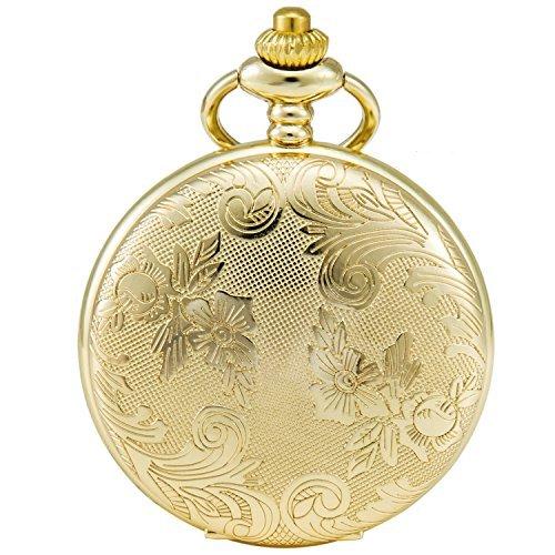 [해외]Sewor 꽃 빈티지 석영 회중 시계 쉘 다이얼과 2 개의 타입 체인 (가죽 + 메탈)/Sewor Flower Vintage Quartz Pocket Watch Shell Dial and Two Type Chain (Leather + Metal)