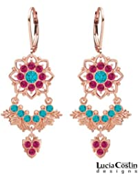 24K Pink Gold over .925 Sterling Silver Earrings by Lucia Costin with Turquoise Green and Fuchsia Swarovski Crystals...