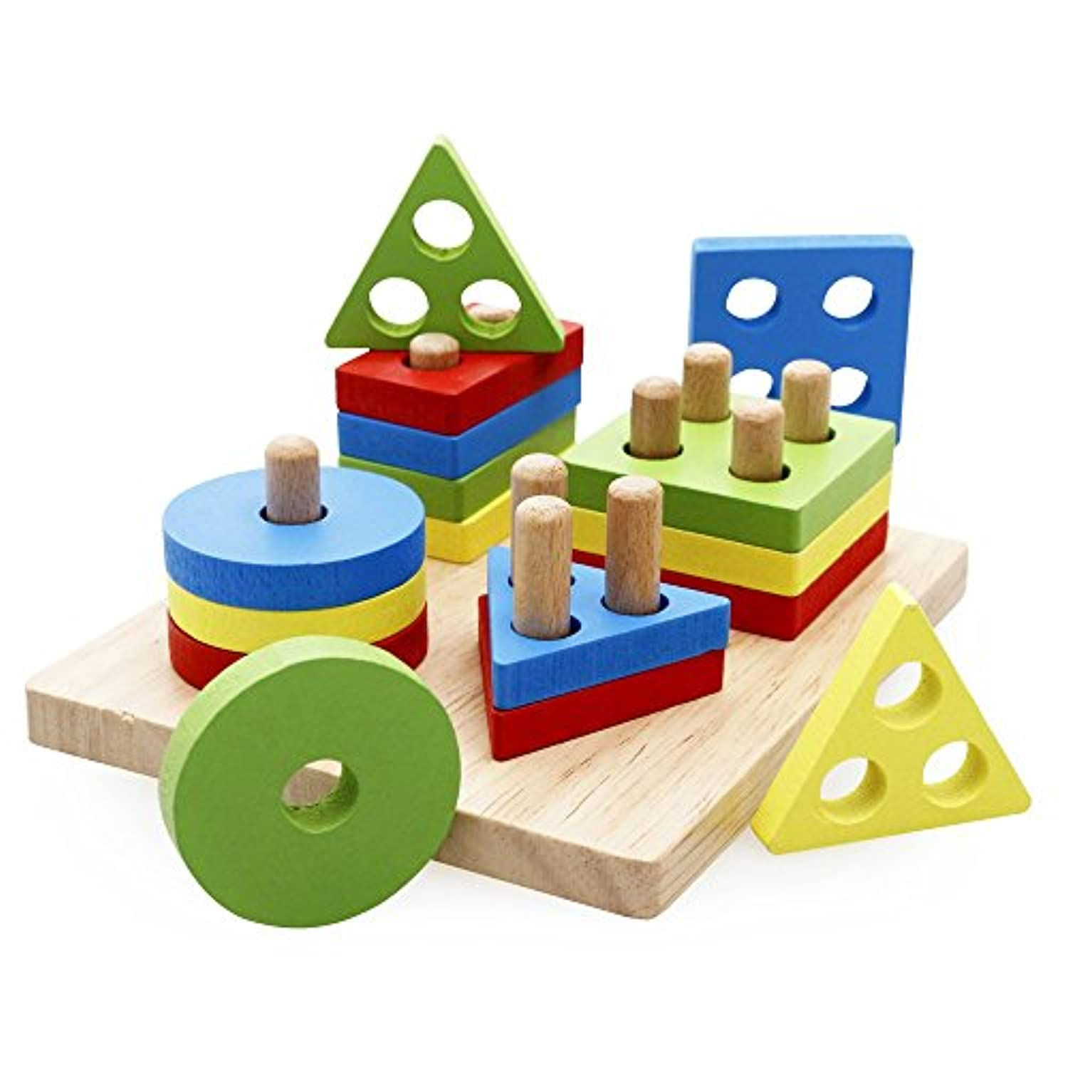 Rolimate Wooden Educational Preschool Shape Color Recognition Geometric Board Block Stack Sort Chunky Puzzle Toys, Birthday gifts toy for age 3 4 5 Years Old and Up Kid Children Baby Toddler Boy Girl by Rolimate