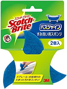 3M お風呂掃除 スポンジ すみ ドアレール洗い用 2個 スコッチブライト バスシャイン B-83