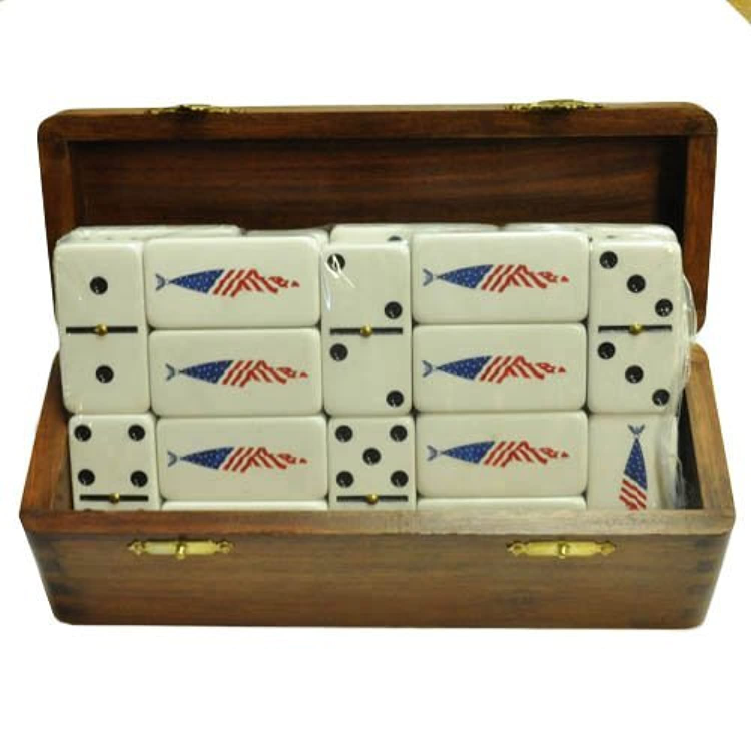 White Double Six Domino with American Flag Engraved in Sheesham Wood Box