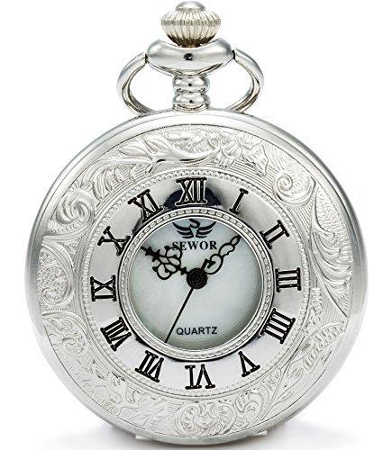 [해외]Sewor 중공 고전 조각 석영 석영 회중 시계와 두 종류의 체인 (가죽 메탈)/Sewor hollow classical sculpted quartz quartz pocket watch and two types of chain (leather metal)