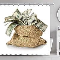 GooEoo 米ドルの袋お金のシャワーカーテン3Dの印刷12のホックが付いている防水上塗を施してあるポリエステル生地の浴室71インチ