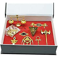Yugioh Millenium Items Puzzle Eye Rod Ring Scale Necklace Keychain Pendant Set Collection