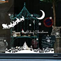 クリスマス雪だるまステッカーリムーバブルホームビニールウィンドウウォールステッカーデカール装飾熱い販売のクリスマス透明窓ショップ、
