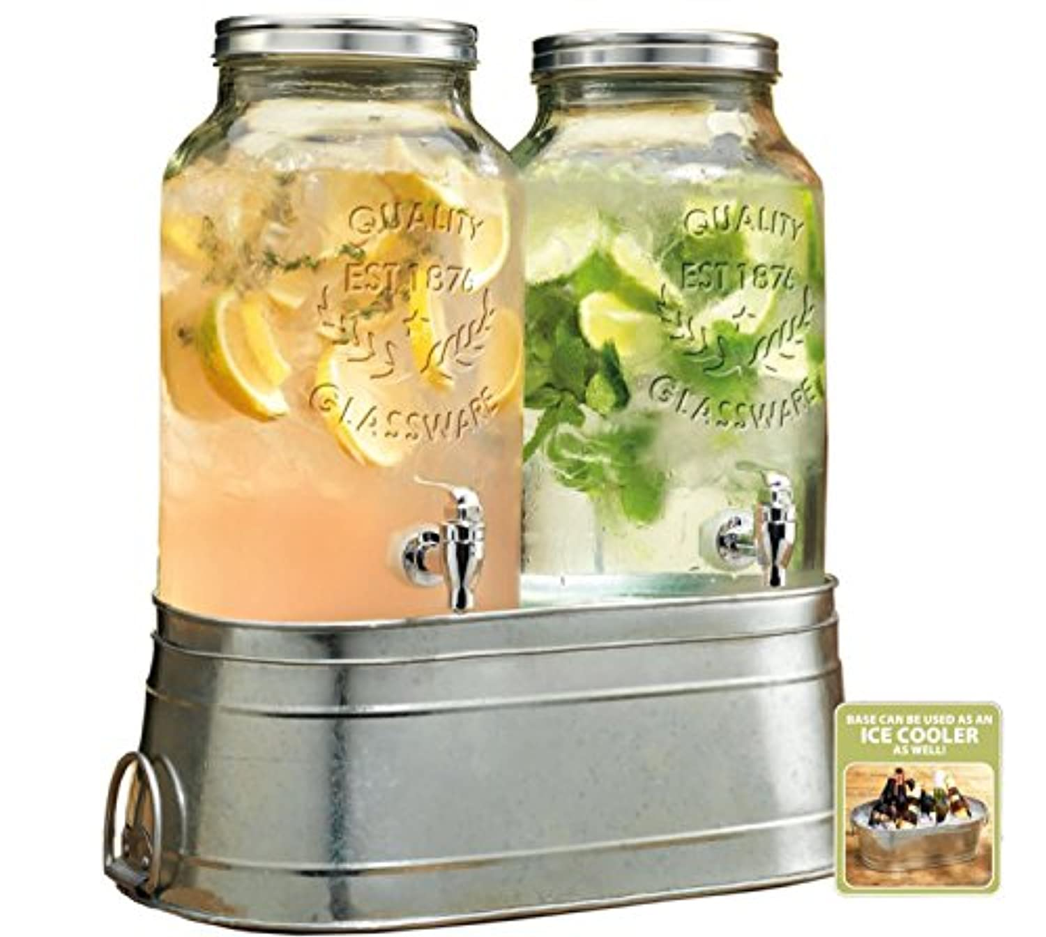 Two (2) 1.5 Gallon Each Quality Ice Cold Clear Glass Jug Dispensers with Galvanized Metal Display Stand/ice Bucket. by TWI