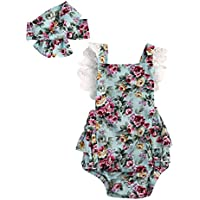 Emmababy Baby Girls' 2Pcs Rompers Lace Dress Backless Jumpsuit With Headband