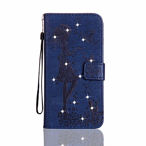 Galaxy S4 ケース 手帳型 CUSKING おしゃれ きらきら ダイヤモンド 無地 フリップ 保護ケース Samsung Galaxy S4 用 滑り防止 耐衝撃 高品質 PUレザー 財布型 カバー - ブルー