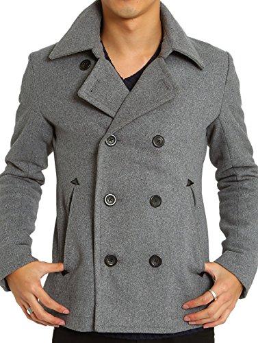 インプローブス Pコート メルトン ウール ショート コート メンズ ピーコート グレー Mサイズ