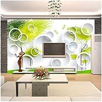 Xbwy 3Dルーム壁紙カスタム写真壁画不織布壁紙サークル抽象ツリーソファテレビ背景壁の壁紙-350X250Cm