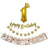 誕生日 飾り付け ガーランド セット 1歳 誕生日 飾り きらきら HAPPYBIRTHDAY ゴールド バースデー 飾り 12月 写真クリップ