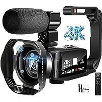 ビデオカメラ4K YouTubeカメラWi-Fi機能デジタルビデオカメラ 48MP 18倍デジタルズーム 手持ちスタビラ…