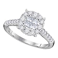 14ktホワイトゴールド女性用プリンセスラウンドダイヤモンドSoleilクラスタブライダル結婚婚約リング3/4cttw
