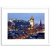 Photo Cityscape Skyline Edinburgh Castle Evening Dusk Framed Wall Art Print