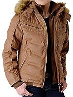 (アローナ)ARONA 湿式 PUレザージャケット 中綿ダウンジャケット メンズ