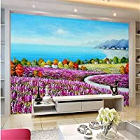 Wuyyii 大規模なパーソナライズされた壁紙地中海のラベンダーの花のテレビの背景の壁紙3Dリリーフ-280X200Cmの部屋