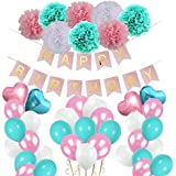 shopparadise バルーン 風船 誕生日 バースデー 飾り付け お洒落 セット パーティー ピンク ブルー ホワイト