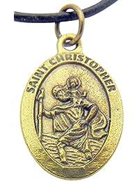 STクリストファー?メダル3 / 4インチブロンズトーンメタルSaintペンダントロープチェーン付き