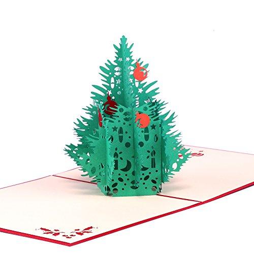 Paper Spiritz クリスマスカード 立体 ポップアップ 3D 封筒付き ポップアップカード 新年 バースデー カード 子供 クリスマスカード (三次元クリスマスツリー)