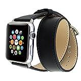 Apple Watch バンド, Wearlizer ドゥブルトゥール アップルウォッチ用時計バンド 交換ベルト ラグ付 本革 保護フィルム付(38mm, ブラック)