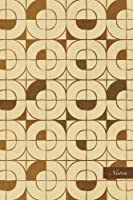 """Notes: 6""""x9"""" Unruled Blank Notebook - Curve Corner Square Cross Mosaic Kaleidoscope - Retro Brown Worn Out Vintage Seamless Pattern Cover. Matte Softcover and Cream Interior Papers."""