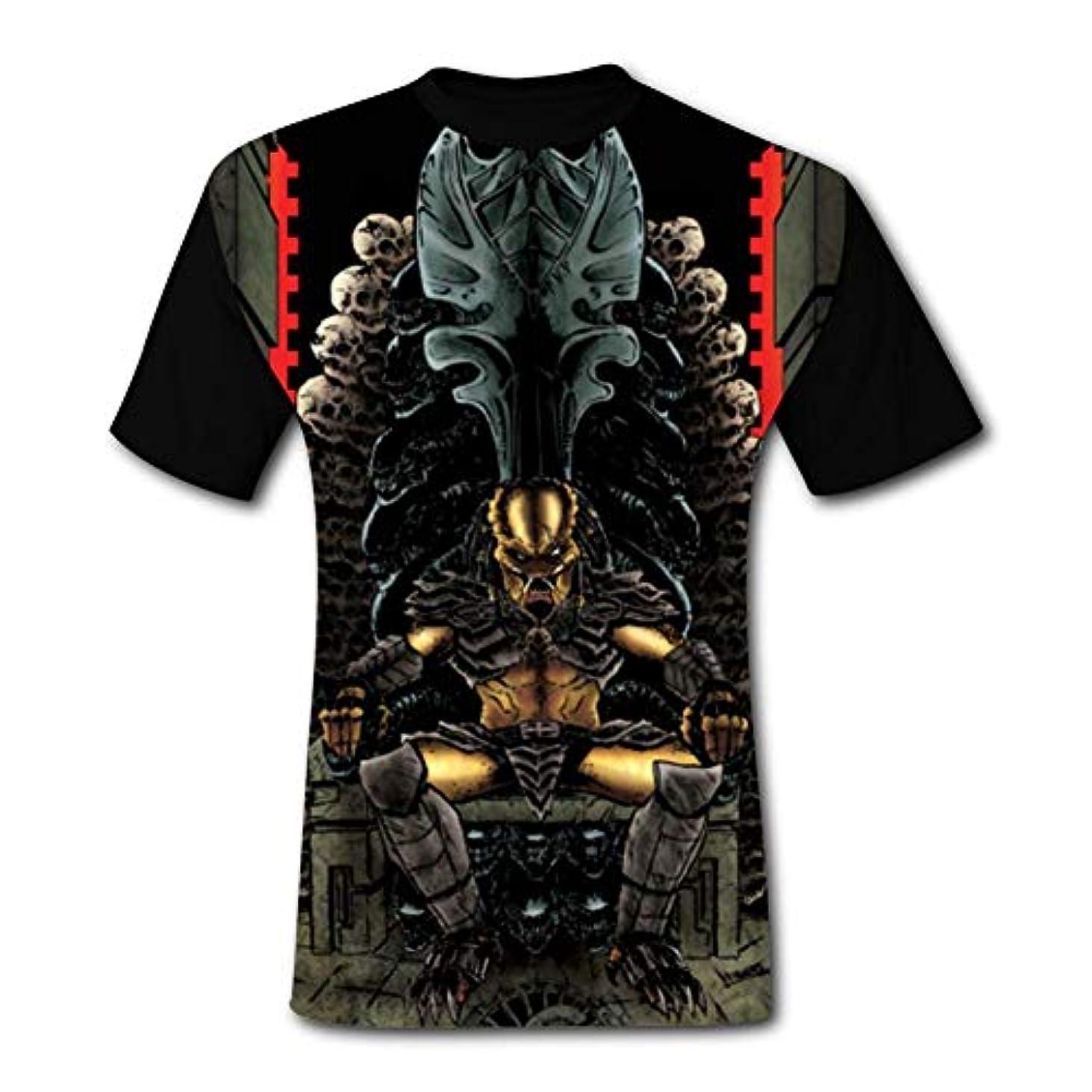パウダーパウダー男の半袖円襟Tシャツファッションカジュアルな夏プリント 捕食者王座