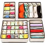 Clothes Drawer Dividers,TERSELY 4 Set Underwear Organisers, Wardrobe Organiser, Foldable Closet Organizer,Cabinet Organizer D